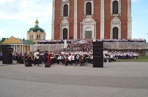 Тысячный Сводный хор области вновь выступил в Рязанском Кремле